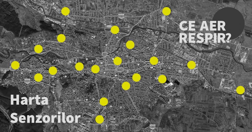 Harta senzorilor Aerlive Cluj